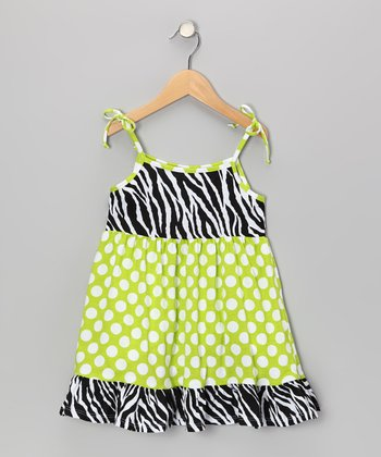 Kiwi Punch Polka Dot Ruffle Dress - Infant, Toddler & Girls