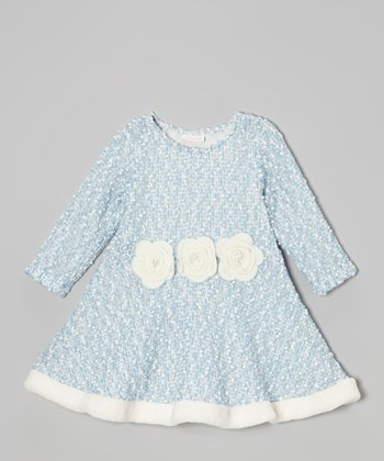 Blue & Tri-Flower A-Line Dress - Infant, Toddlers & Girls
