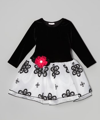 Black & Pink Flower A-Line Dress - Toddler & Girls