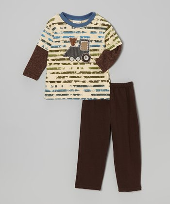 Brown Stripe Train Engine Tee & Pants - Infant & Toddler