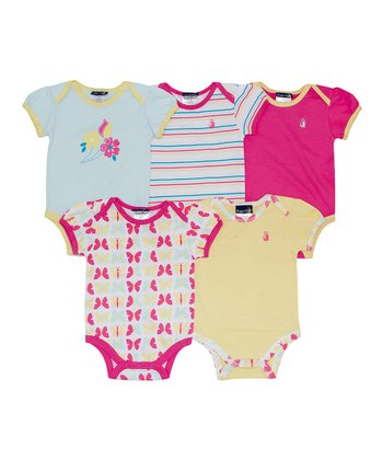 Rugged Bear Blue & Yellow Garden Bodysuit Set - Infant