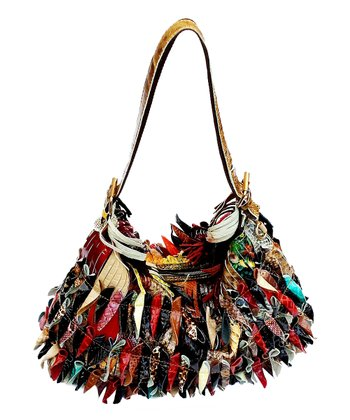 Biacci Black & Red Leather Patchwork Hobo