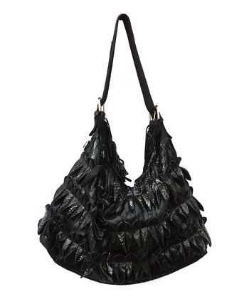 Biacci Black Leather Luster Hobo
