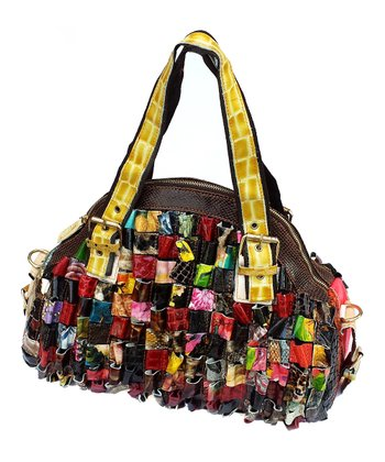 Biacci Brown & Red Leather Patchwork Satchel