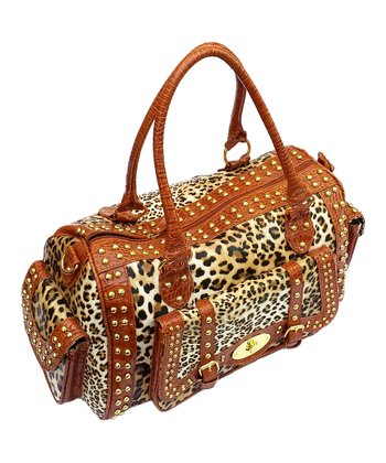 Biacci Tan & Taupe Leather Leopard Weekender
