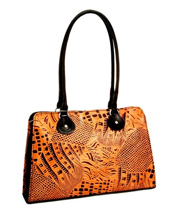 Biacci Brown & Black Leather Hand-Painted Satchel