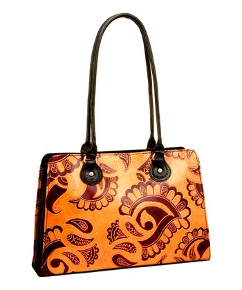 Biacci Brown & Black Leather Hand-Painted Paisley Satchel