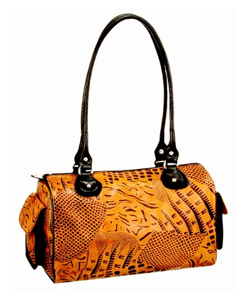 Biacci Brown & Black Leather Hand-Painted Leaves Shoulder Bag