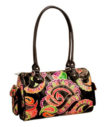 Biacci Black & Purple Leather Hand-Painted Paisley Shoulder Bag