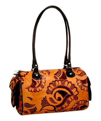 Biacci Brown & Black Leather Hand-Painted Paisley Shoulder Bag