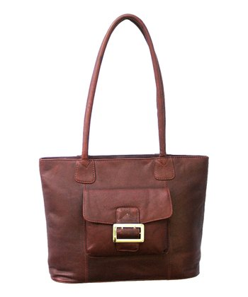 Biacci Chocolate Brown Cowhide Leather Shoulder Bag