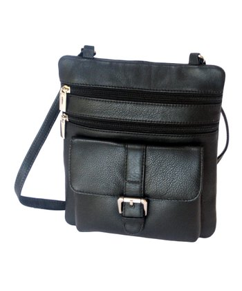 Biacci Black Cowhide Leather Crossbody Bag