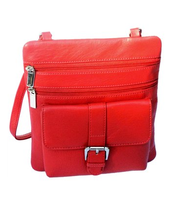 Biacci Red Cowhide Leather Crossbody Bag