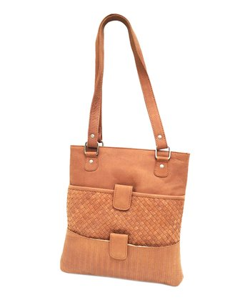 Biacci Natural Leather Woven Tote