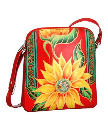 Biacci Red & Teal Floral Hand-Painted Crossbody Bag