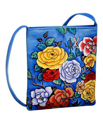 Biacci Blue & Red Bloom Hand-Painted Crossbody Bag