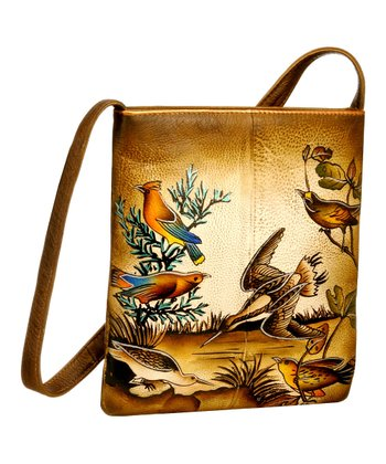 Biacci Taupe & Cobalt Birds Hand-Painted Crossbody Bag