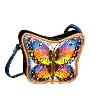 Biacci Blue & Orange Butterfly Hand-Painted Crossbody Bag