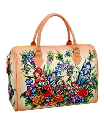 Biacci Blush & Blue Wildflower Hand-Painted Satchel