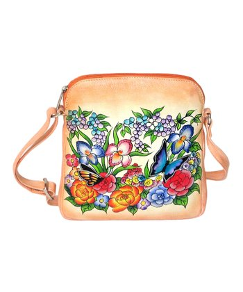 Biacci Blue & Orange Wildflower Hand-Painted Crossbody Bag