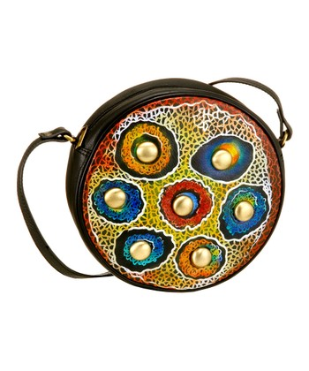 Biacci Red & Blue Button Hand-Painted Round Crossbody Bag