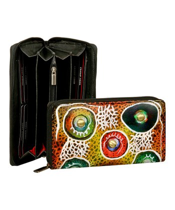 Biacci Red & Orange Button Hand-Painted Wallet