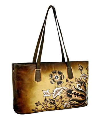Biacci Beige & Black Flower Hand-Painted Shoulder Bag