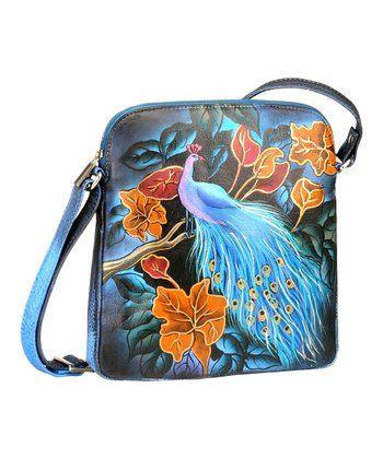 Biacci Blue & Orange Peacock Hand-Painted Crossbody Bag