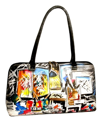Biacci Black & Blue Artist Hand-Painted Satchel