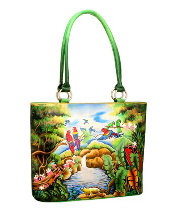 Biacci Green & Blue Parrot Hand-Painted Tote