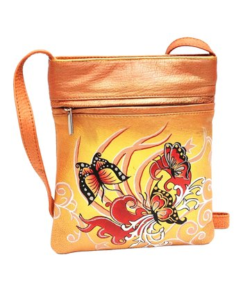 Biacci Beige Butterfly Hand-Painted Crossbody Bag
