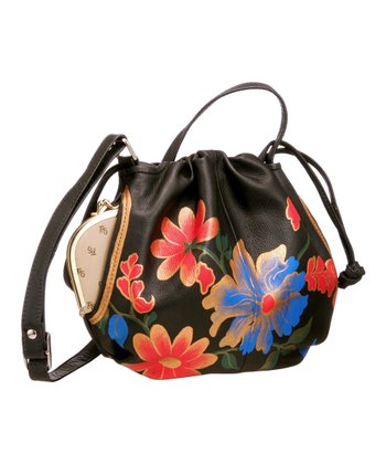 Biacci Black & Gold Floral Hand-Painted Drawstring Crossbody Bag