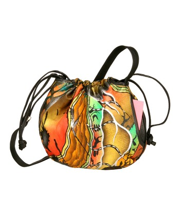 Biacci Gold & Red Desert Hand-Painted Drawstring Crossbody Bag