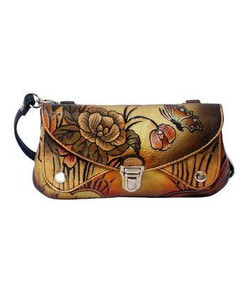 Biacci Beige & Black Butterfly Hand-Painted Crossbody Bag