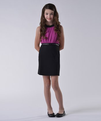 Berry Ponte Chiffon Dress