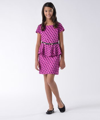 Berry Polka Dot Ponte Peplum Dress