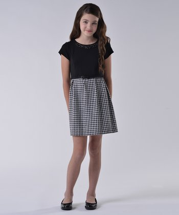 Black & White Houndstooth Ponte Dress