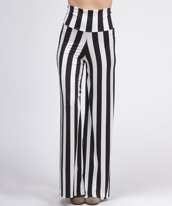 Black & White Vertical Stripe Palazzo Pants