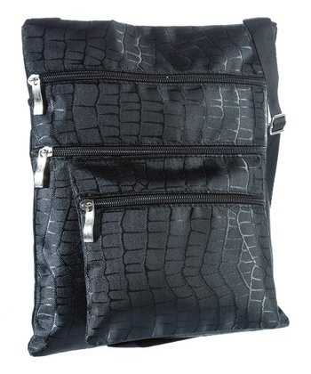 Black Reptile Crossbody Bag