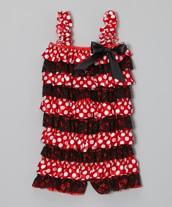 Black & Red Polka Dot Satin Romper – Infant