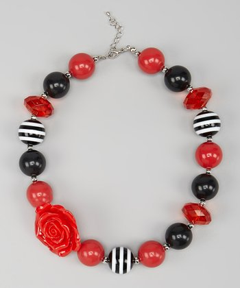 Red & Black Rose Chunky Necklace