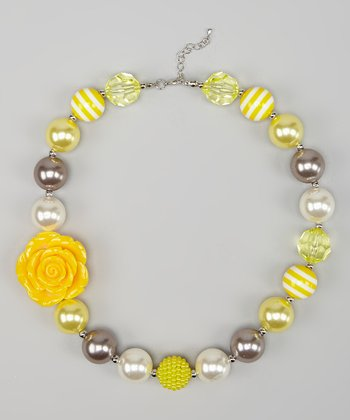 Yellow & Gray Rose Chunky Necklace