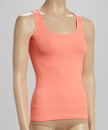Neon Peach Seamless Ribbed Tank - Women