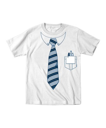 Tuxedo Tees White & Blue Stripe Pocket Protector Tee - Men
