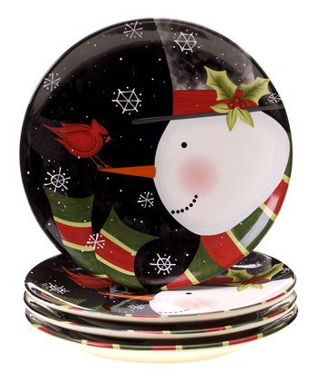 Jolly Snowman 10.75'' Dinner Plate - Set of Four