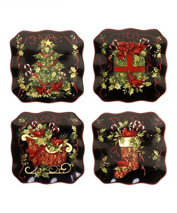 Christmas 6'' Canape Plate Set