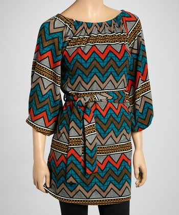 Teal Zigzag Belted Tunic - Women
