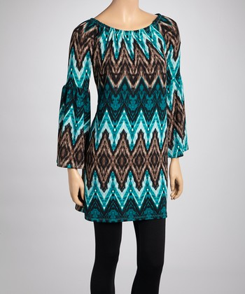 Brown & Blue Zigzag Bell Sleeve Tunic - Women