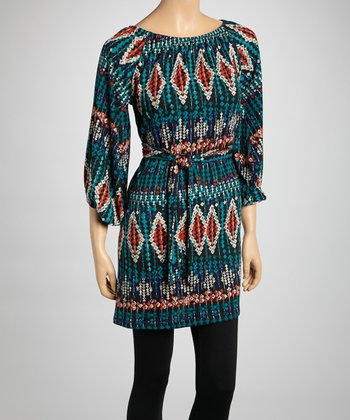 Teal Diamond Belted Tunic - Women
