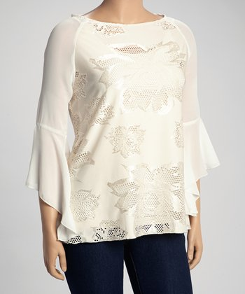 Ivory Crochet Cutout Bell Sleeve Top - Plus